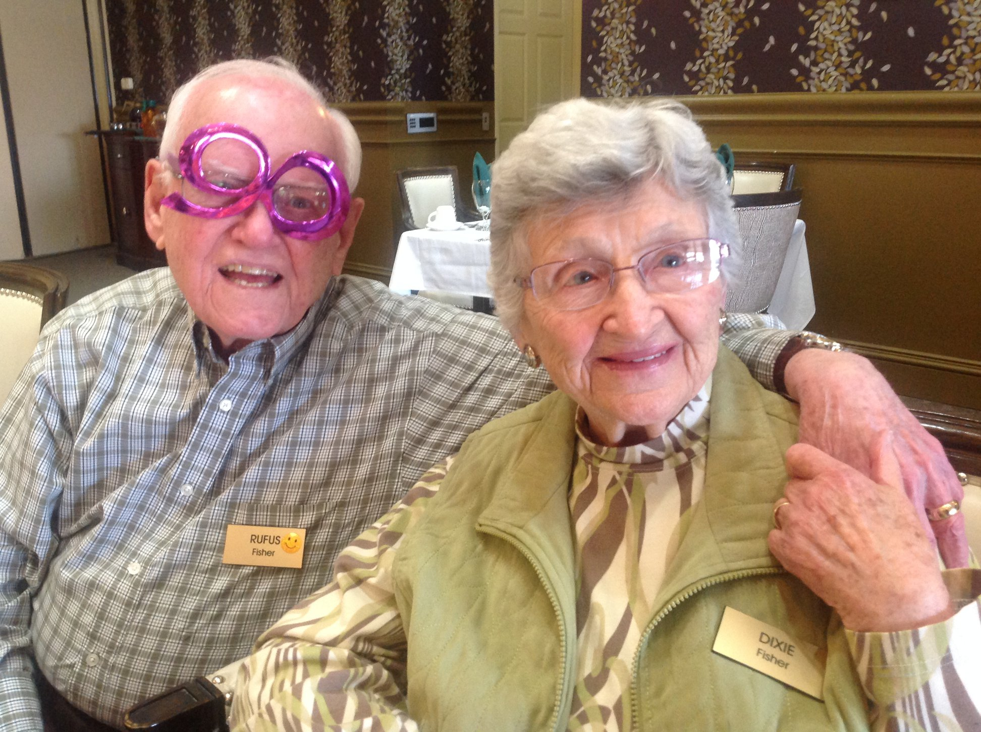 Couple at Nonagenarian Luncheon