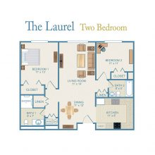 A floor plan for the Laurel apartment.