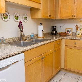 A stainless steel sink and a dishwasher in the kitchen of the Dogwood floor plan.