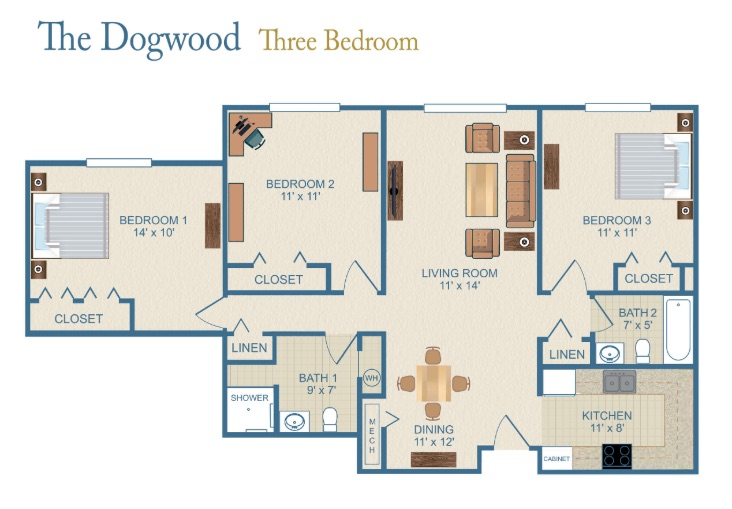 The floor plan for the three bedroom Dogwood accommodations.