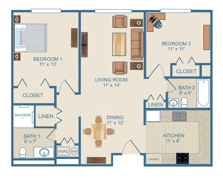 The floor plan of the two bedroom Laurel apartment at Ardenwoods.
