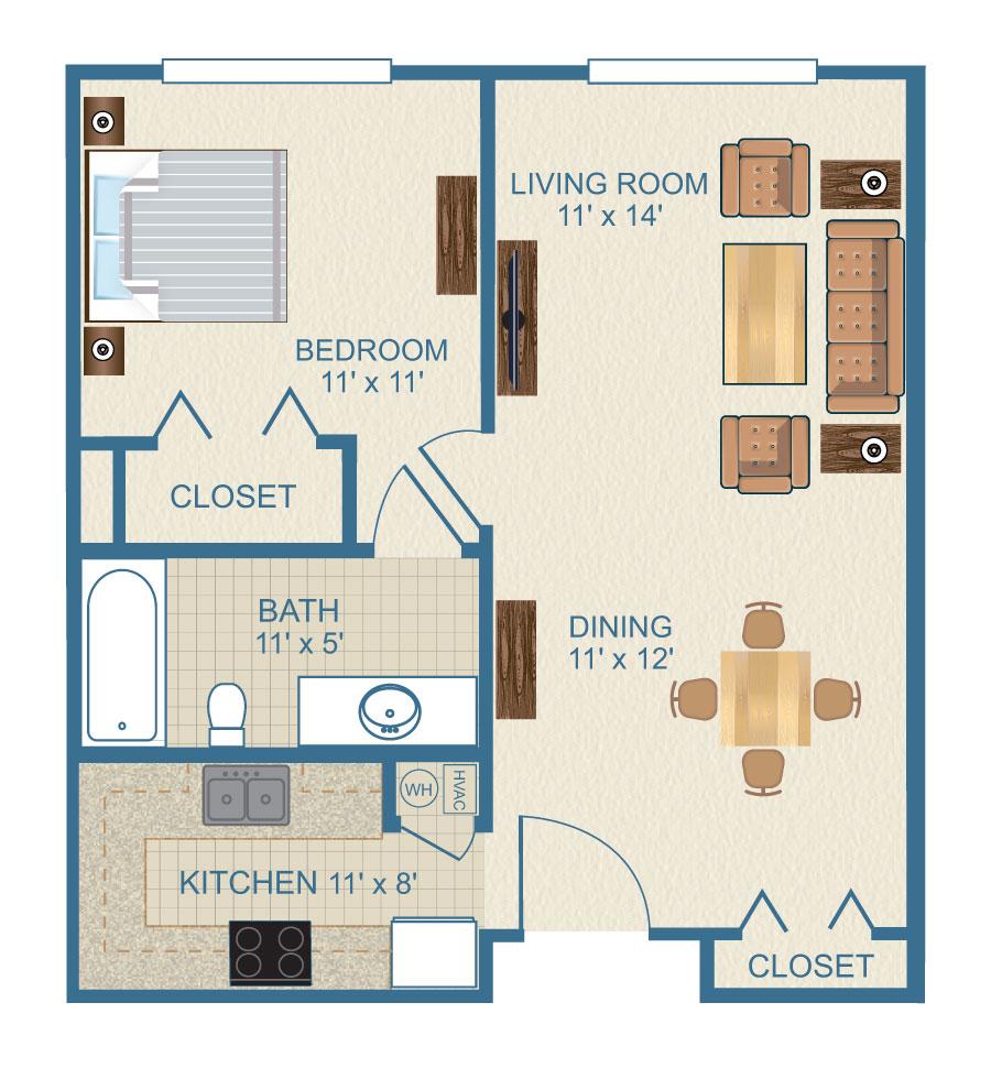 The Azalea One Bedroom Floor Plan at Ardenwoods.