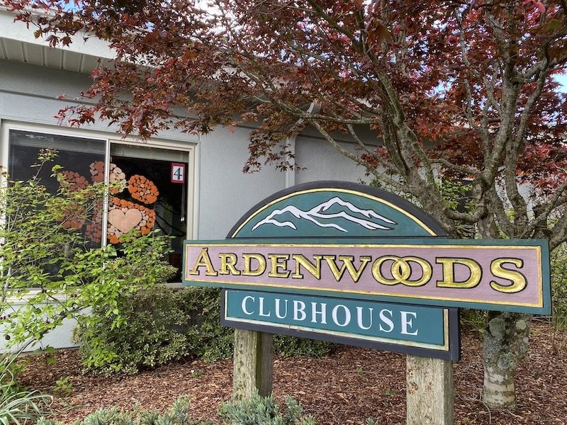 The sign for the Ardenwoods clubhouse.